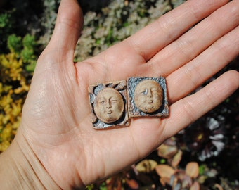 ceramic cabochon face cab little clay mask miniature cameo set of two