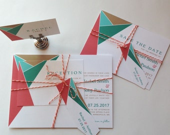 Wedding Invitation Suite // Jewel Tone Invitation // Wrapped in Twine with Tag