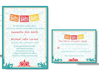 Mexican Theme Wedding / Papel Picado Invitations and Reply Cards