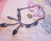 Dazzling Vintage Retro Blue Rhinestones Necklace.