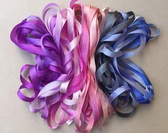 Boysenberry Mix - 14 metres of 7mm silk ribbon