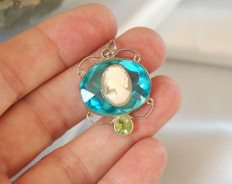 Special OOAK Cameo Pendant, Art Nouveau Style, Peridot/Blue Topaz Glass Stones, Sterling Silver, Shell Cameo, Excellent Condition