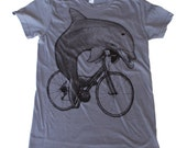 Womens Dolphin on a Bicycle  American Apparel Slate T Shirt