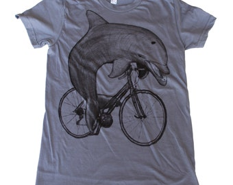 Dolphin on a Bike- Womens T Shirt, Ladies Tee, Cotton Tee, Handmade graphic tee, sizes s-xL