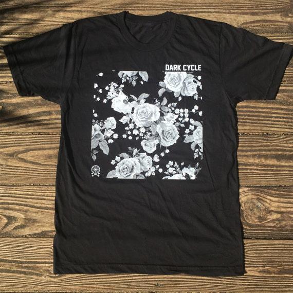 Dark Cycle Logo Tee - Graphic Floral Design
