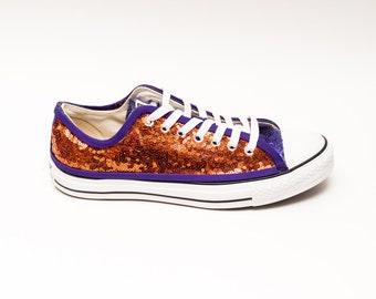 Sequin | Two Tone | Sports Fan Custom Orange Over Purple Low Top Sneakers Tennis Shoes