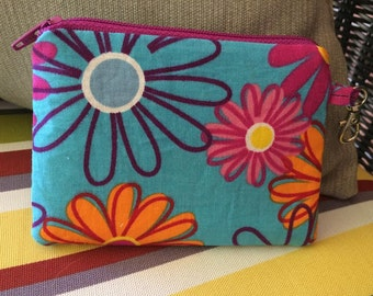 Flowers, blue, Zippered Pouch, Coin Purse
