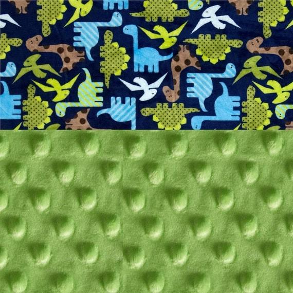Dinosaurs Minky Baby Mini Lovey Blanket, Personalized Orange Brown Blue Green