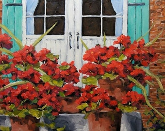 On Sale Géranium on the Porch - Original oil painting - created by Prankearts