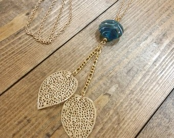 Delicate Leaf & Turquoise Glass Bead Necklace