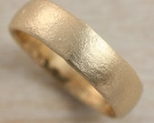 6mm Chunky Ancient Texture Band - Eco-friendly Gold or Palladium - Primitive Rustic Ring, Soft Textured Band, Alternative Wedding Band
