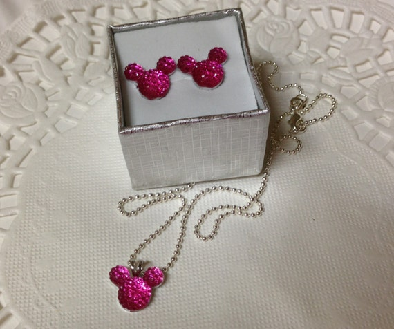 MOUSE EARS Necklace and Earrings Set for Themed Wedding Party in Dazzling Bright Pink Acrylic