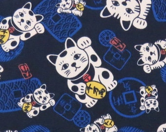 2668C -- New Lucky Cat Fabric in Navy Blue, Japanese Lucky Fortune Cat Fabric, Cat Fabric