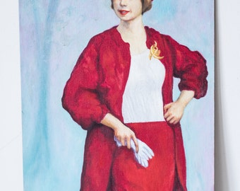 1950s Fashionable Woman Portrait Oil Painting on Board