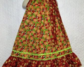 FALL Girls Dress 4T/5 Red Apples Pumpkins Green Grapes Pillowcase Dress, Pillow Case Dress, Sundress
