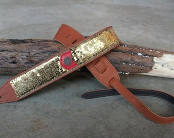 Gold Sequined Glovely Guitar Strap