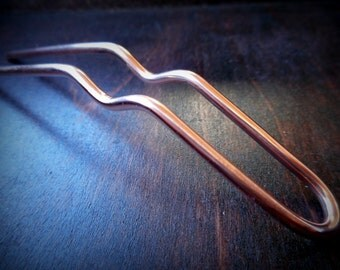 Slim Hair Pin, half inch wide, 10g smooth copper hair fork, made to order, hair accessories, metal hair comb, hair stick, u pin, woman