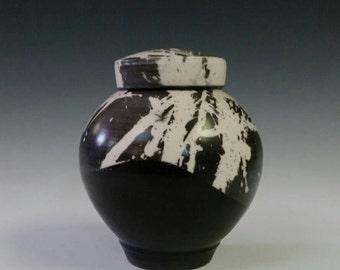 Ceramic Urn, Raku Keepsake Urn or Pet Urn Alternative Raku Black and White Cremation Urn