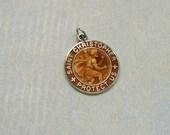 Vintage Sterling Enamel Saint Christopher Pendant, St. Christopher Medal, Sterling Religious Medal (#3017)