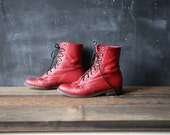 Red Roper Boots Leather Ankle Lacers Bohemian Fringe Kilties Womens Size 6 B Granny Combat Boots From Nowvintage on Etsy