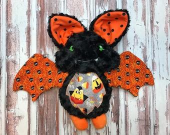 "Handmade Halloween Bat Plush 13"" Size / Softie Doll / Halloween Plush / Halloween Decor / Ready to Ship"
