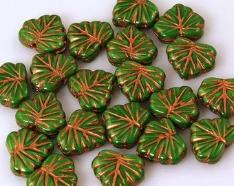 Opaque Green Maple Leaf Czech Glass Beads with Red Copper Bronze Finish 13mm - 10