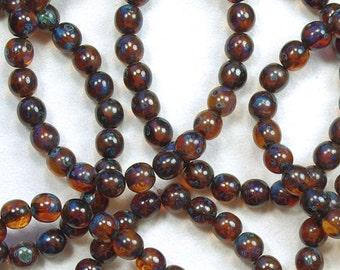 Dark Topaz Picasso Smooth Round Czech Glass Druk Beads 6mm - 25