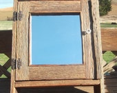 Handmade Rustic Oak Barnwood   Medicine or Spice Cabinet with Mounting Hardware