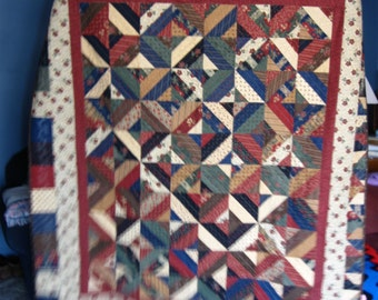 Scrappy Quilt, rust, green, blac and creamy beige