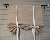 Natural Burlap or White Burlap 36 Inch Long Stage Coach Blind Swedish Roll Up Shade Tie Up Curtain Swag Balloon