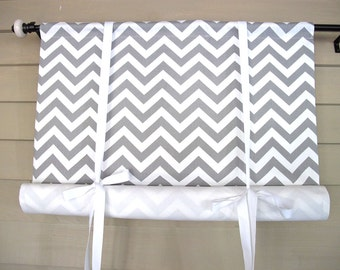Gray White Chevron 48 Inch Long Stage Coach Blind Swedish Roll Up Shade Tie Up Curtain Swag Balloon