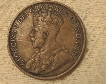 1913 King George Canadian One Cent Coin - Vintage Coins - Canadian Coins