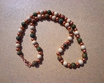 Unachite Necklace, Gemstones with Wood and Copper Beads, 20 Inches, Unisex Necklace, Protection Stone, Healing Stone, Emotional Health Stone