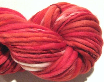 Very Bulky Handspun Yarn Peppermint Twist 103 yards hand dyed merino wool red yarn waldorf doll hair knitting supplies crochet supplies