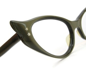 Vintage 50s Winged Green Cat Eye Eyeglasses Sunglasses Frame