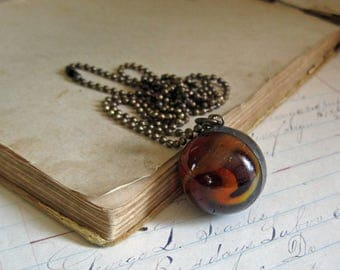 Orange Glass Shooter Marble  Long Necklace One of a Kind Jewelry Sale