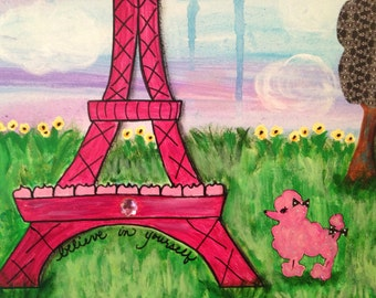 Eiffel Tower Painting for Girl, Pink, Paris, Poodle, Girl's Room Original Painting, Mixed Media Canvas