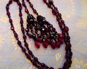 Vintage Garnet & AB Garnet Crystal Japanned Lariat Tassel Necklace