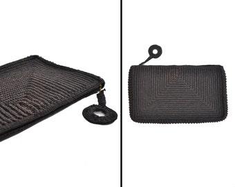 1940s purse / crochet clutch purse /  black 40s purse