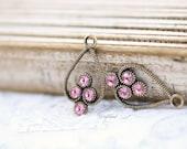 Light Rose 23x13mm Ox Brass Filigree Rhinestone Drops Earring Dangles Exquisite Charms Pink Swarovski Crystal - 2