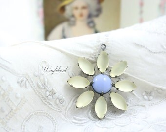 Frosted Yellow & Light Blue Daisy Flower Pendant with Vintage Stones in Silver Antique Brass Setting 30mm - F054 .