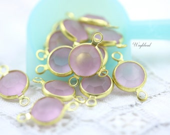 Frosted Light Amethyst 8mm Vintage Round Swarovski Stone 2 Rings Brass Channel Links - 4 .