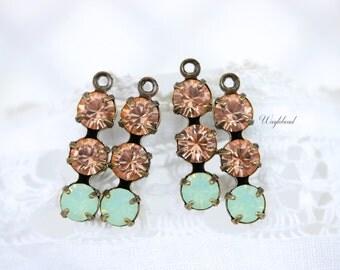 Triple Rhinestone Charms Connectors Swarovski Crystal Set Stones - Light peach & Chrysolite Opal - 4