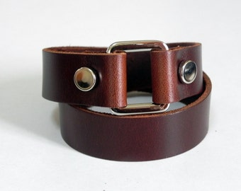 Double Wrap Brown Leather Cuff Leather Bracelet with Rectangle Metal Silver Tone