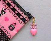 Kawaii Heart Charm Clip Pink Bow Zipper Pull Planner Cell Phone Charm