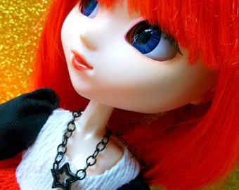 Star Doll Necklace Jewelry Black Tone Chain Bow Jewelry for Blythe Pullip Fashion 11 inch Doll Rocker Girl Pastel Goth Doll Accessories