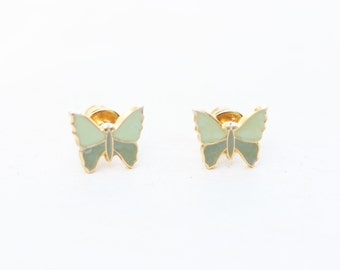 Green Vintage Butterfly Studs