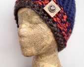 Multiple Colored Crocheted Beanie Hat, Detroit Tigers, Orange, Blue and Grey with Removable Pin