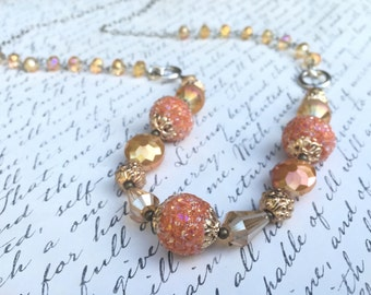 Beaded, Statement, Necklace in Orange, Tangerine, Gold, Crystal, on an Adjustable Silver-toned Chain - 28""