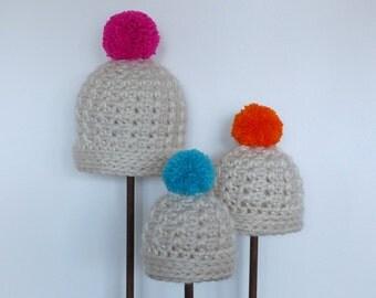 Crochet Hat Pattern: Pom Pop Hat